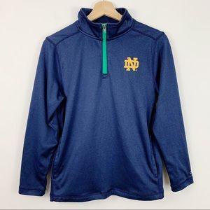 Champion Notre Dame 1/4 Zip Pullover L Navy Mock